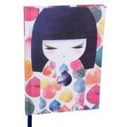 Kimmidoll Jegyzet füzet - Mihoko - 13x18x1,8cm, 192 csíkozott oldal, vászon borítás