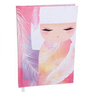Kimmidoll Jegyzet füzet - Mizuyo - 13x18x1,8cm, 192 csíkozott oldal, vászon borítás
