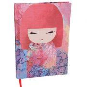 Kimmidoll Jegyzet füzet - Yuka - 13x18x1,8cm, 192 csíkozott oldal, vászon borítás